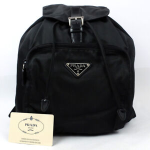PRADA Backpack Nylon Black Triangle Logo