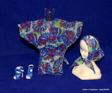 Basic Model Muse Barbie Doll Sheer Blue Floral Print CoverUp Top Scarf & Shoes