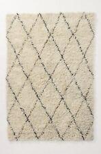 NEW Anthropologie tan Amala Flokati Shaggy Diamond Knot Wool Rug 5 x 7 MSRP $898