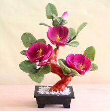 Chinese Feng Shui Jade Purple Rose Flower Bonsai Plant Tree Leaf Stone Gemstone