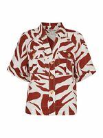 WHISTLES Ladies Red Ivory Linen Zebra Print Shirt Short Sleeve UK8 BNWT RRP99