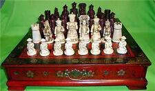 Oggetti da collezione vintage 32 set di scacchi con tavolino in legno
