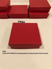 BINA 6 RED GIFT BOXES for Ring Necklace Earring Bracelet Small Jewelry