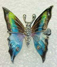 Vintage Alice Caviness Germany Sterling Silver & Enamel Marcasite Butterfly Pin