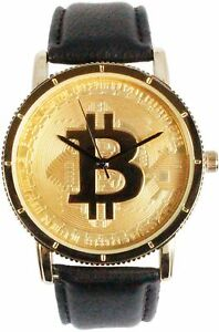 Men Iced BIT COIN B Watch Dial Hip Hop Leather Band Fashion Urban Style Letter