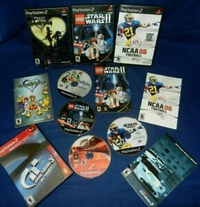 Lot of 4 PS2;Kingdom Hearts,LEGO Star Wars 2,Gran Tur 3 A-Spec,NCAA 06,w/Mans,VG