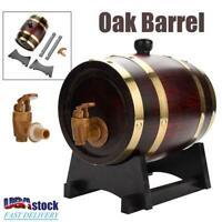 1.5L Wood Oak Timber Wine Barrel For Beer Whiskey Rum Port Keg w/ Oak Stand NEW