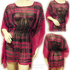 FOREVER 21 Womens Handkerchief Batwing Sheer Top Kaftan Tops L Purple Red Print