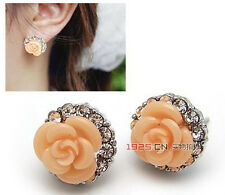 New Fashion Pair Silver Plated Coral Rose Flower Clear Crystal Stud Earrings