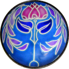 Crystal Dome Button Arts & Crafts Flower Turquoise & Pink  Tulip ADF51  - 1 inch