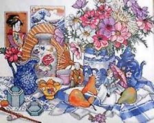 """NIP Design Works 'East Meets West' Asian Floral Counted Cross Stitch Kit 16""""X20"""""""
