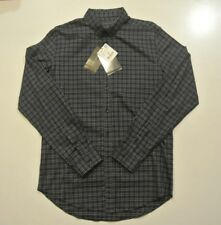 ZARA MAN SIZE LARGE  LONG SLEEVE SHIRT NAVY BLUE PLAID NWT