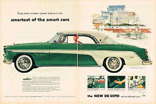Vintage 1955 2-Page Magazine Ad De Soto Modern Power & Smirnoff & Simmons Sofa