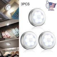 Motion Sensor LED Night Light Cordless Battery-Powered 3 Pack Cabinet Indoor Use