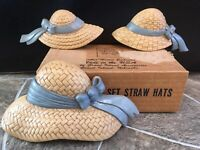 3 Burwood STRAW HATS Wall Plaques 2803 Homco Home Interiors 1638