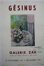 Bob Gesinus Orig Plakat Galerie ZAK Paris 1963 Widmung Dedicace