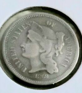 1868 Three Cent (3c) U.S. Mint Coin..Very Fine..Great Collectible..Bargain Buy..