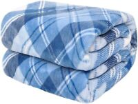 """Fleece Throw Blanket with Plaid Cozy Flannel  Luxury Blanket for Bed 50x60"""" Blue"""