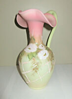 """Fenton Pink Burmese Glass Pitcher Hand Painted Flowers Limited Edition 9.75"""""""