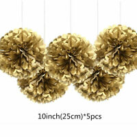 "5 Pack 10"" Golden Tissue Paper Flower Pom Poms Hanging Party Wedding Home Decor"