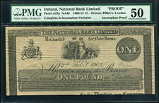 Ireland 1900-1915 (1903), National Bank Limited 1 Pound Incomplete Proof, PMG 50