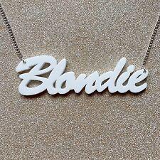 Blondie blanc mot lettre charme pendentif kitsch chaîne collier Choochie choo