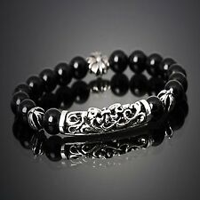 GUNTWO Korean Mens Fashion Bracelets - Biker Bead Metal Chain Bracelet B5248 UK