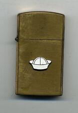 Vintage Slim US Navy Military Brass Lighter w/Sailor Cap Emblem Trade mark Japan