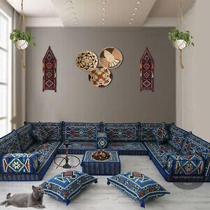 Blue Majlis floor seating,corner sofa set,floor couch,kilim rug,bohemian decor