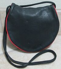 Vintage JWM DERR Small Black Leather Crossbody Bag w/Red Leather Trim - Rare!