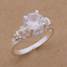 925 Sterling Silver Plated CUBIC ZIRCONIA SOLITAIRE RING. UK Size: P (US: 7.5)