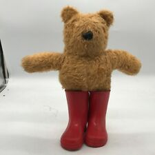 VINTAGE OLD TEDDY BEAR TOY WITH RED WELLIES WHICH COME OFF