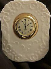Pretty! Lenox Porcelain Quartz Mini Mantle Clock Runs Well New Battery!
