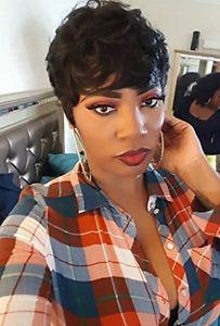 "8"" Short Human Hair Wigs Pixie Cut Brazilian Hair Wig Natural Wave Black Wigs"