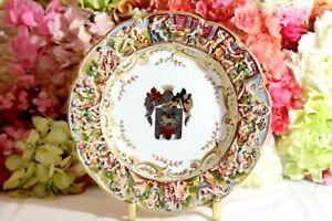 Fine, Antique Capodimonte Rimmed Soup Bowl with Heraldic Crest