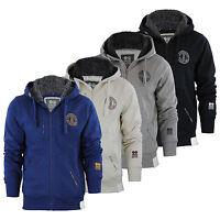 Mens Hoodie Crosshatch Grabble Borge Fleece Lined Hood Zip Up Sweater Jacket