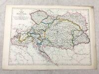 Ancien Carte De Autriche Europe Ancien Main Coloré 19th Siècle Original