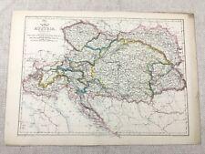 Antique Map of Austria Europe Old Hand Coloured 19th Century Original