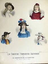 Lithographie 1900 Chapeaux Modiste MODE COSTUME Coiffure Parisienne