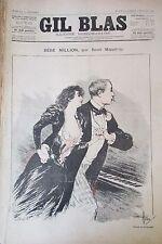 JOURNAL GIL BLAS N° 27 de 1892 MAIZEROY DESSIN STEINLEN PARTITION MUSIQUE DELMET