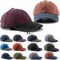 *New* Men Women Cotton Plain Adjustable Wash Style Polo Baseball Hat Cap Dad
