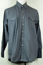 Sheplers Western Fit Solid Gray Long Sleeve Snap-Front Shirt Cowboy Rodeo XL
