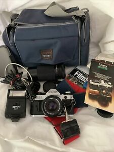 🔥🔥Canon AE-1 Program 35mm SLR Film Camera with Canon 50mm 1.8 lens plus extras