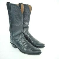 Lucchese 1883 N4501 Womens Size 7.5 B Black Buffalo Leather Western Cowboy Boots