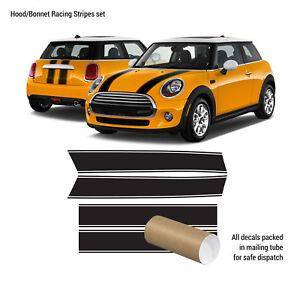 For MINI Cooper 2007-2018 Hood Bonnet + Trunk Racing VINYL Stripes Stickers Set