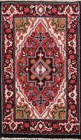 Geometric Indo Heriz Hand-knotted Oriental Area Rug Traditional Foyer Carpet 2x3