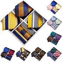 3Pcs Mens Silk Tie Set With Gift Box Paisley Striped Necktie Hanky Cufflinks