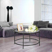 Modern Clear Glass Top Round Metal Base Coffee Table Living Room Furniture Black