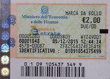 MARCA DA BOLLO 2,00 € ORIGINALE VALIDA EMESSA IN DATA 04/04/2016 VALORI BOLLATI