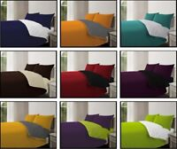 New 4pc Reversible Duvet Cover With Pillowcase Fitted Sheet Bedding Set All Size